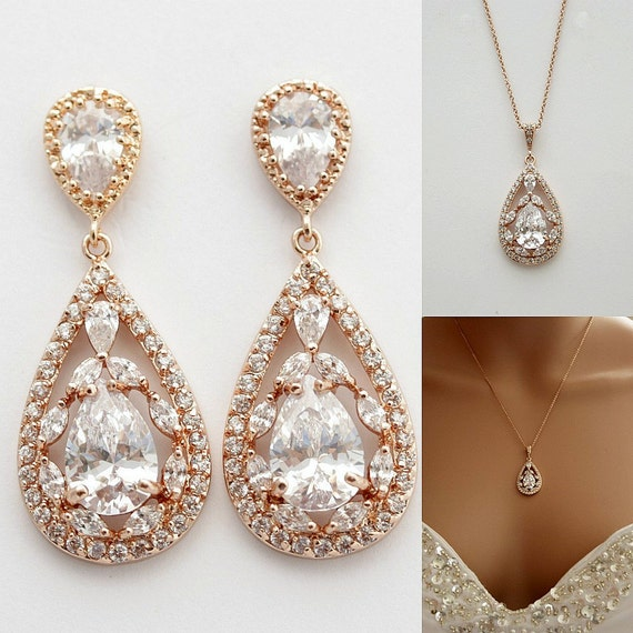 Rose gold jewelry set pink gold wedding earrings by for Pink wedding jewelry sets