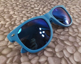 vintage 90s deadstock sunglasses wayfarer matte blue plastic frame sun glasses eyewear fashion unisex simple classic revo mirror lens nos 48