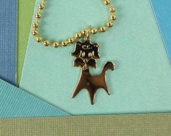 "vintage 70s dog charm necklace DEADSTOCK gold ball chain 20"" long mod modern retro kitsch costume jewelry women kid girl teen puppy cartoon"