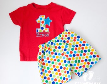 Custom Shirt and Short Set for Circus Carnival themed Birthday Outfit for Toddler Boys