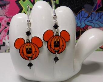 Halloween Mini Pumpkin Mickey Mouse Dangle Earrings