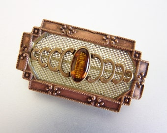 Lovely Vintage Brass Embossed Mesh Amber Brooch