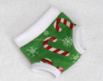 Medium Fleece Candy Canes Snowflakes Christmas Underpants/Cloth Pullup/Diaper Cover Soaker, White Green Red