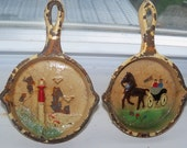 Cast Iron Frying Pans Small Size with painted scenes on interior Hand Painted