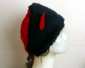 Red and Black Fur hat, Assymetrical Unisex Winter Hat, Halloween wolf fur hat, Woodland Gnome hat