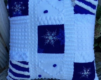 Winter Snowflakes Blue White Vintage Chenille Patchwork Pillow Handmade Doodaba Lake Patio