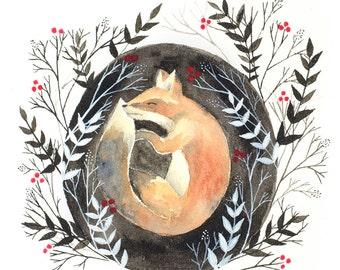 Fox Painting, Watercolor Painting, Forest Art, Fox Art, Woodland Art, Fox Illustration