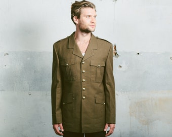 Vintage Mens MILITARY JACKET . 90s Wool Coat Khaki Green Uniform Long Jacket Longline Blazer Army 1990s . size Medium Large