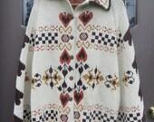 70s Folk art    acrylic Sweater Poncho Cape   Hearts Southwestern Tribal Knit