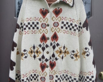 70s  acrylic Sweater Poncho Cape   Hearts Southwestern Tribal Knit  pA folk art