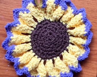 Sunflower Trivet Crocheted Dishcloth Trivet Hotpad Round Dish Cloth Crochet Flower Purple Lavender Violet Yellow Coasters, Pot Holders