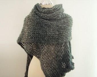 Knitting elegant shawl  in Dark Green