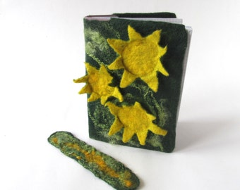 Journal cover notebook cover felt cover Sunflower Green moss book cover  felt journal cover personal gift personal book cover  gift under 25