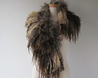 Curly Felted  collar,   Grey felt collar,   brown Grey Fur scarf  Pure Real Wool Fleece brown grey Felt necklace Eco fur collar by Galafilc
