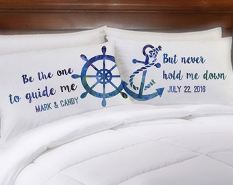 Nautical Wedding Be the One to Guide Me Personalized Couples Pillowcases Anniversary Engagement Anchor Ships Wheel Mr Mrs Gift Idea