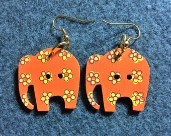 Wooden Elephant Button Earrings