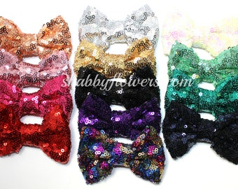 14 pack of 3 inch  Sequin Bows, Baby Sequin Bows, 3 inch Sequin Bows, Wholesale Bows, Baby Girl Bow, Baby Headband, Shabby Flowers