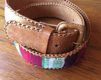 vintage. Embroidered Guatamelan Brown Leather Belt //