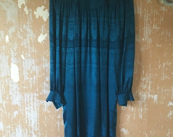 vintage.  70s Teal Silk Dress  // Rare Silk // S to M