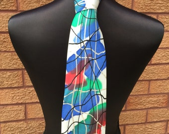 Blue SCRIBBLE Hand Painted Silk Tie by Julie Riisnaes