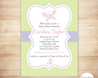 Butterfly Baby Shower Invitation, Baby Girl Shower, Baby Shower Invite, Pink and Green - EDiTABLE PDF, INSTANT DOWNLOAD