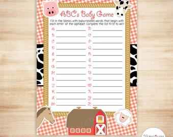 Farm ABC's Baby Shower Game - Farm Baby ABC Game - Barnyard Animals Baby Shower - PRiNTABLE, INSTANT DOWNlOAD