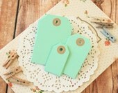 Jade Green handmade reinforced colour Luggage Tags