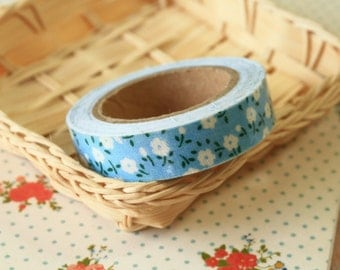 Pastel Blue Garden Flowers fabric deco tape