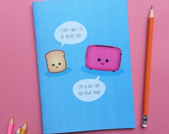 Back to School, Notebook, Journal, Sketchbook with plain pages, cute sketchbook, kawaii art, colourful stationery blue booklet, A5 book
