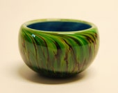 Turquoise Blue and Green Patina Glass Salt Bowl
