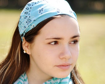 Blue Bandana Headband Cotton Bandanna Cute Headwrap Fabric Headband Wrap Bandana Head Scarf Hair Wrap Adult Head Wrap (#4009) S M L X