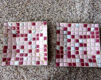 SALE! Vintage 2 MOSAIC Dishes Trinket Trays Art Serving 1950s Pink Magenta Gold Flecked White