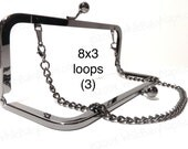 DISCOUNTED 3 Duskcoat Gunmetal (TM) 8x3 clutch purse frames with LOOPS