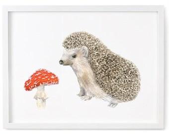 Nursery Forest Decor, Hedgehog, Nursery Woodland Art, Toadstool, Woodland Nursery, Hedgehog and Toadstool