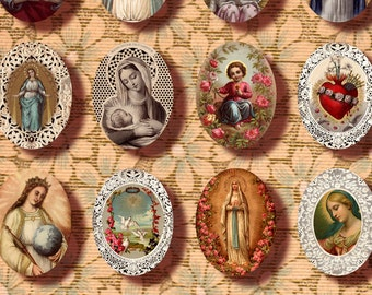 Holy cards 30x40 mm oval digital collage sheet Catholic Saint Jesus Sacred Hearts Instant Download printable n095