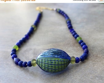 SALE Rare Blue Green Millefiori Blown Glass Pendant Necklace Lime and Ocean Blue Vintage Glass Beads Ocean Jewelry