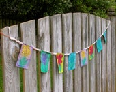 Prayer For Peace Flags, Boho, Shabby Chic. Flower Garden Art, Feng Shui, Good Karma Art