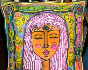 Hippie Art, Peace Pillow, Stuffed, Yoga, Meditate, Inner Peace, feng shui, namaste, Balance,