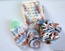 Crochet Cotton Washcloths,  Spa Set ,Hostess Gifts , Bath Set