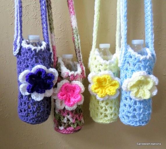 Water Bottle Flowers: Flower Water Bottle Holder Crochet Bottle By SandeesKreations