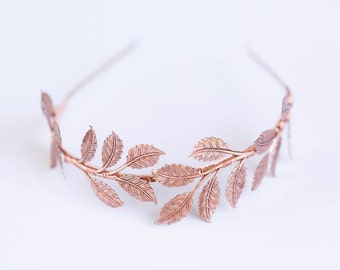 Oversized Rose Gold Leaf Headband - Bridal or Everyday Headband, Boho Crown, Headpiece