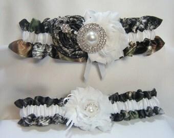 New White Satin CAMOUFLAGE wedding garters camo garter White