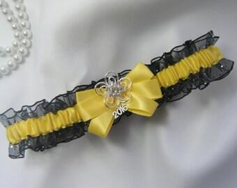 Prom Garter Yellow on Black Sparkle Wedding garter tossing Garters