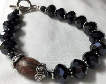 Black Chinese Crystal Bracelet with Oval Picasso Jasper Bead