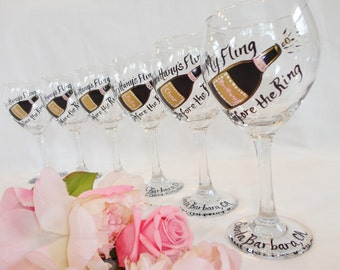 """BACHELORETTE PARTY Wine Glasses, Bridesmaid Wine Glasses, Bridesmaid Gifts, Bachelorette Party Gifts, """"Fling Before the Ring"""""""