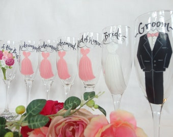 Personalized Hand Painted Bridesmaid Champagne Glasses - Bridal Party Champagne Glasses - GIFT WRAPPING AVAILABLE