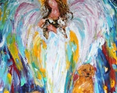 Fine Art Print made from image of past oil painting by Karen Tarlton - Angel and Pets