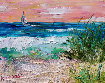 Beach Sunset Summer painting original oil abstract impressionism fine art impasto on canvas by Karen Tarlton