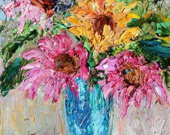Original oil painting Joyful Daisies 6x6 palette knife impressionism on canvas fine art by Karen Tarlton