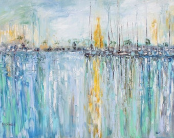 Abstract Original oil painting - Boats Last Light - Teal grey green gold palette knife impressionism on canvas fine art by Karen Tarlton